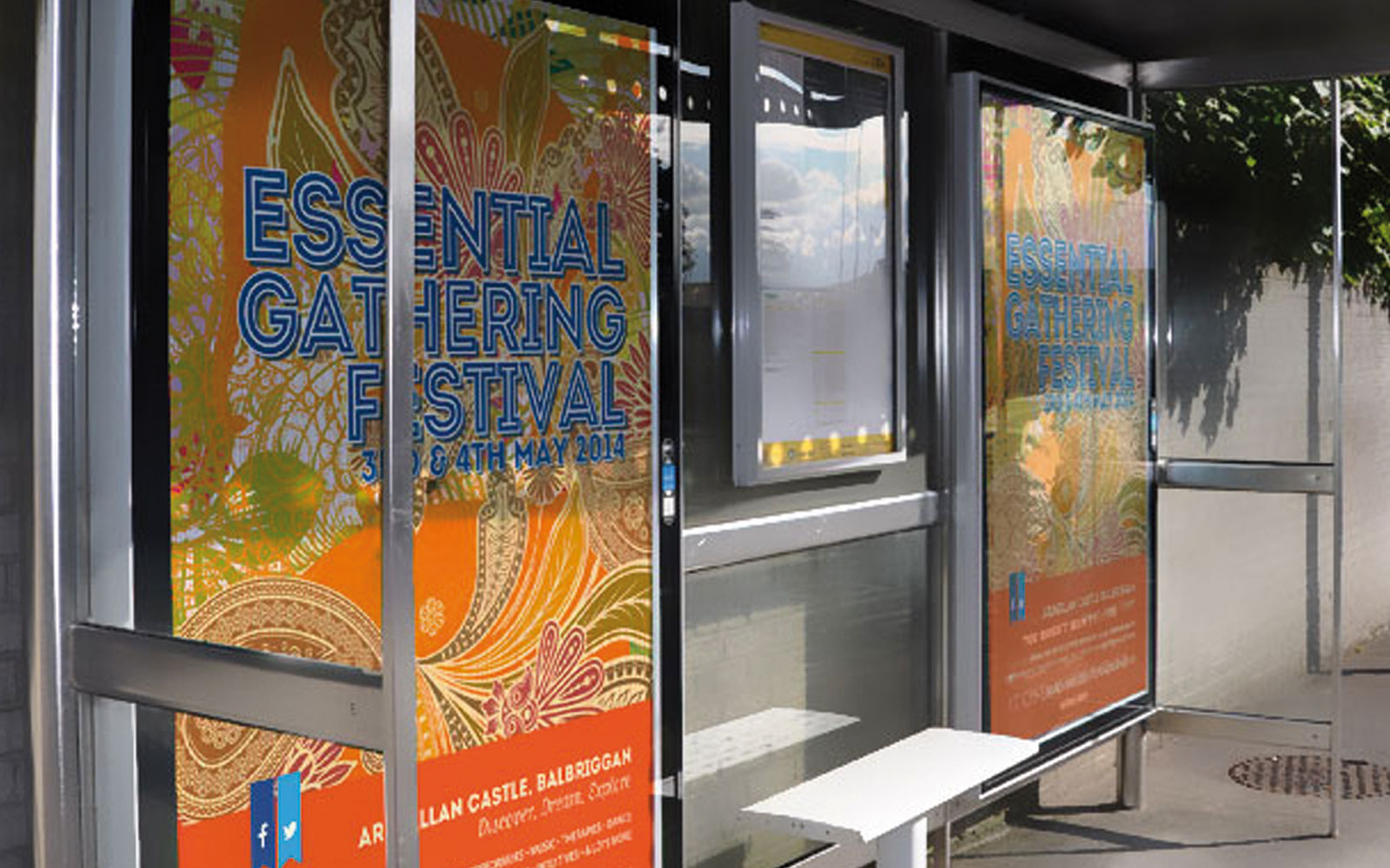 Bus Shelter signage for Essential Gathering Festival