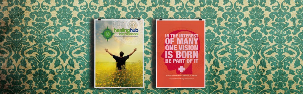 Poster campaign featuring Tony Buzan for the Healing Hub International anniversary event