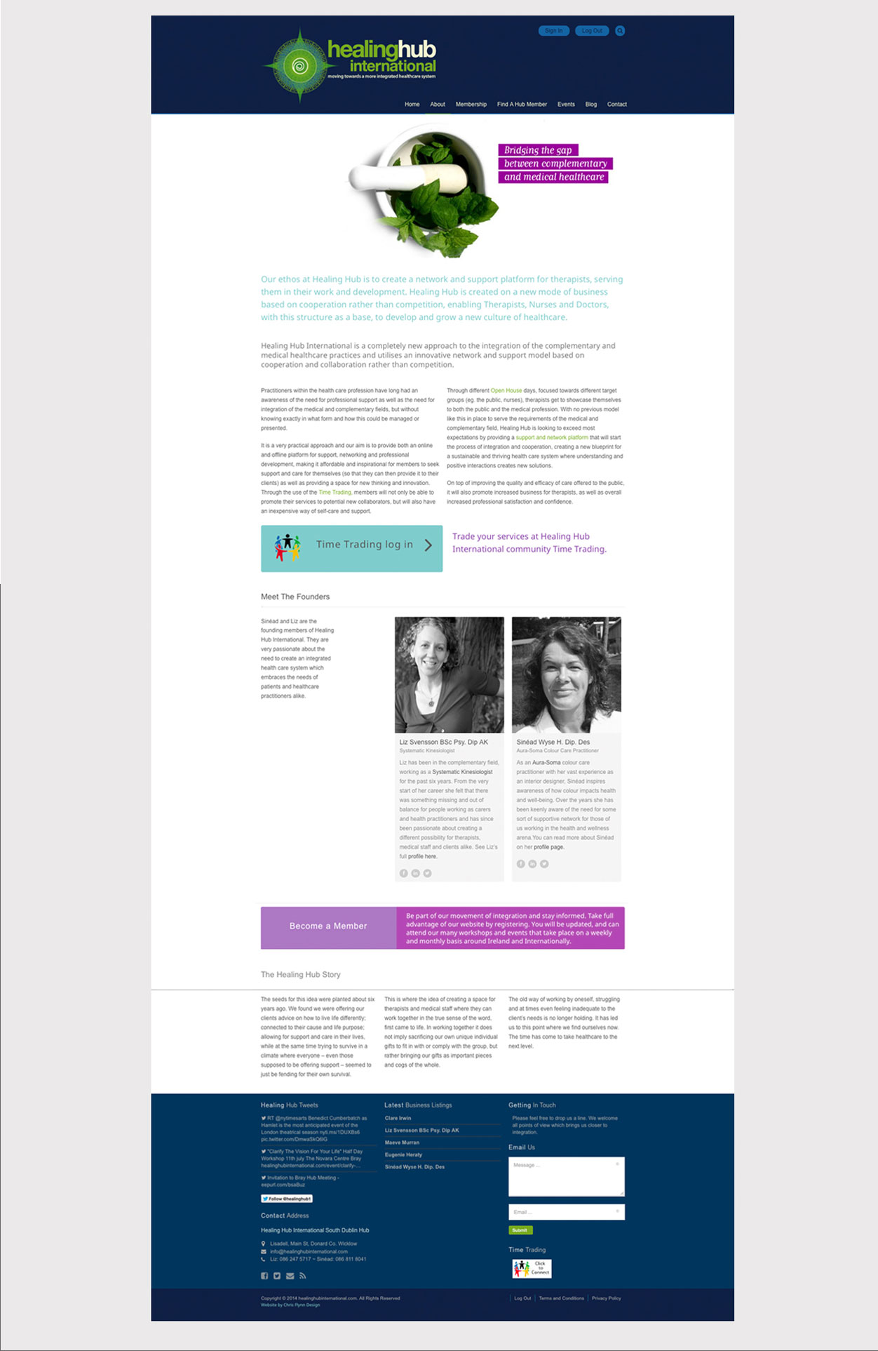 Healing Hub International About Page Layout Design