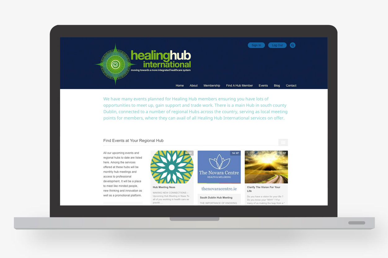 Healing Hub International Event Page Layout Design