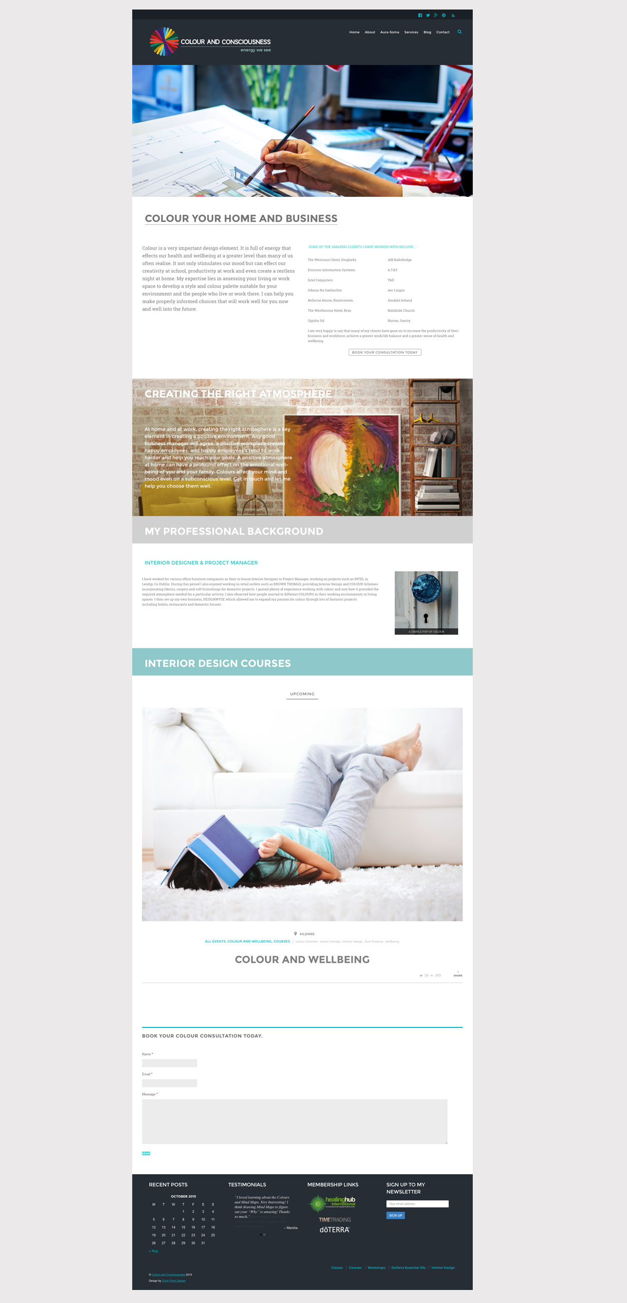 Colour and Consciousness website design and layout for interior design page.