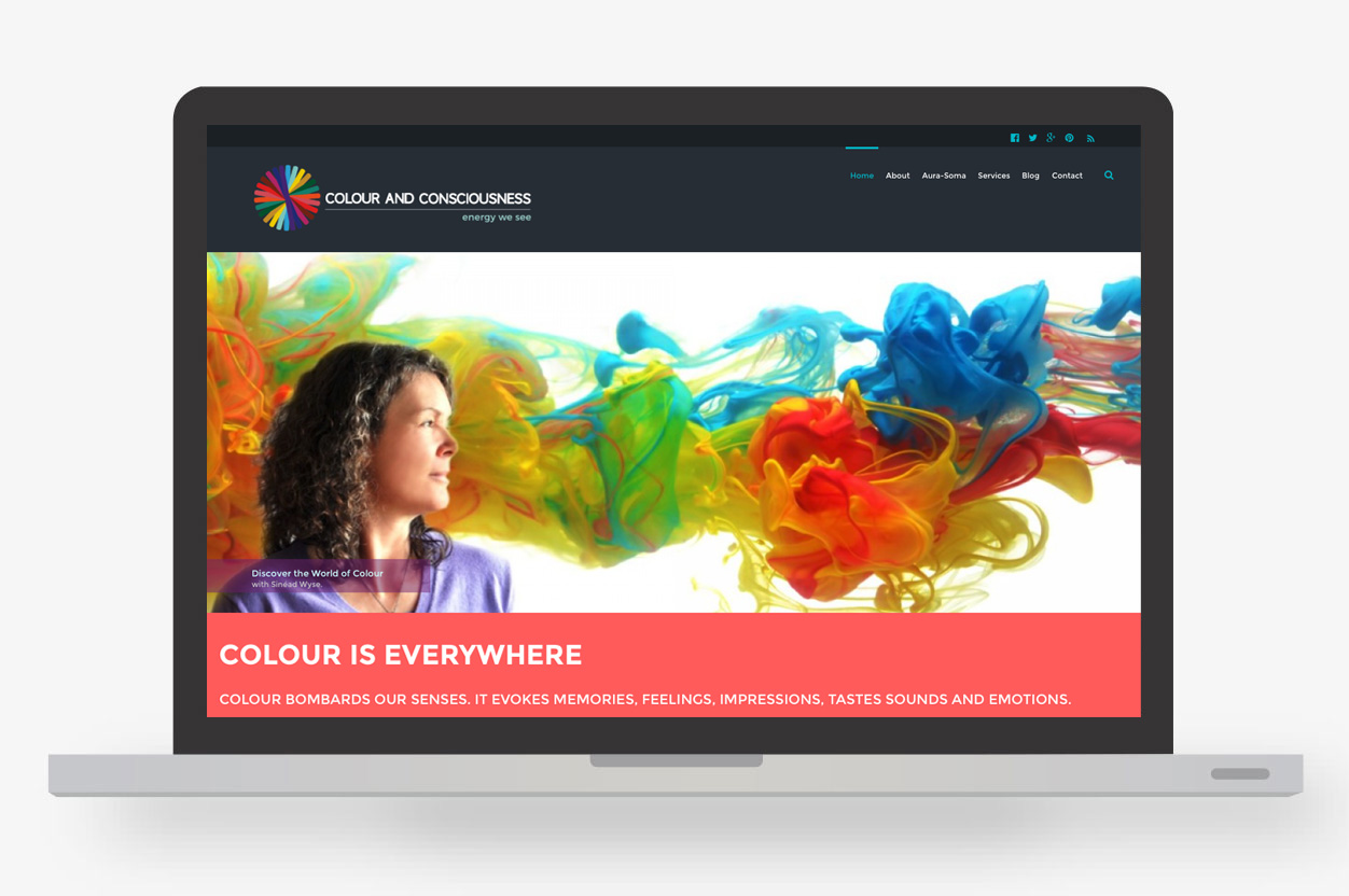 Colour and Consciousness home page layout and design on laptop.