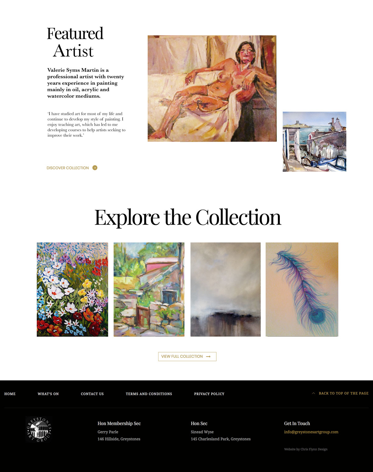 Website Design Proposed Featured Artist Section