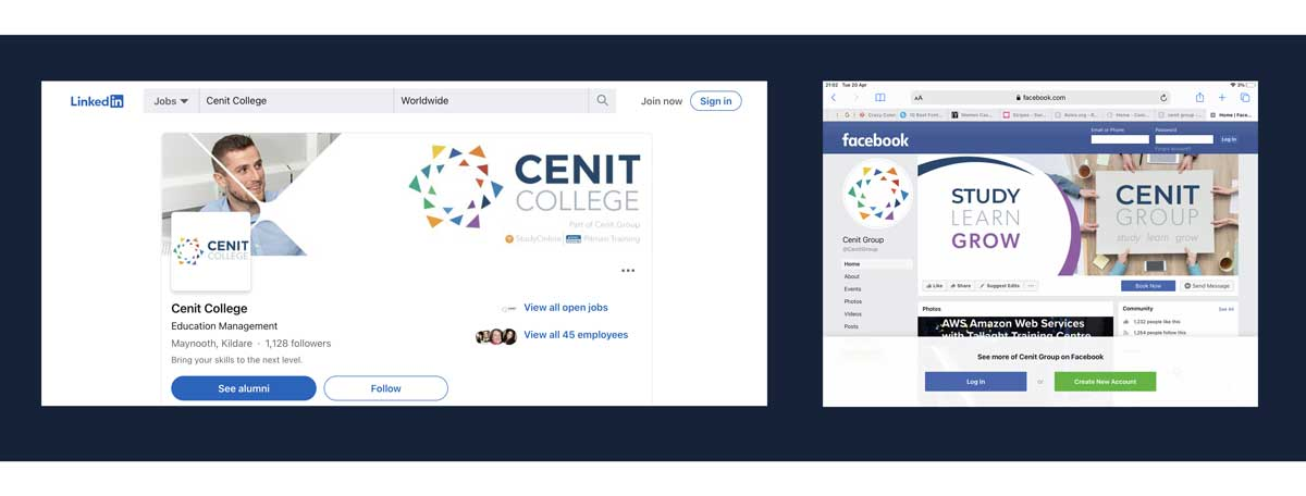 College Logo on Social Media Banners